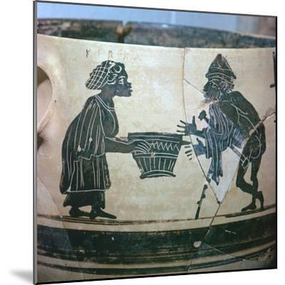 Detail of a Greek vase showing Odysseus and Circe, 5th century BC. Artist: Unknown-Unknown-Mounted Giclee Print