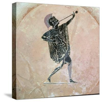 Greek vase painting of a Greek soldier with a trumpet. Artist: Unknown-Unknown-Stretched Canvas Print
