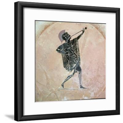 Greek vase painting of a Greek soldier with a trumpet. Artist: Unknown-Unknown-Framed Giclee Print
