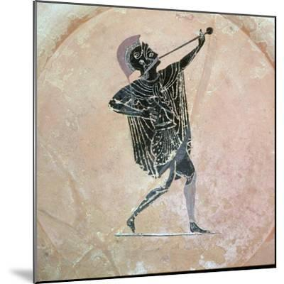 Greek vase painting of a Greek soldier with a trumpet. Artist: Unknown-Unknown-Mounted Giclee Print