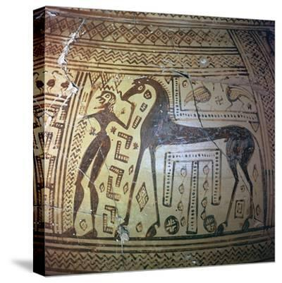 Detail from a Greek geometric period vase, 9th century BC. Artist: Unknown-Unknown-Stretched Canvas Print