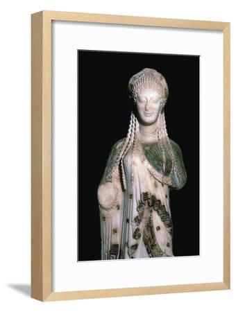 Greek statue Kore 675, 6th century BC. Artist: Unknown-Unknown-Framed Giclee Print