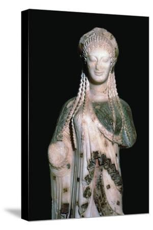 Greek statue Kore 675, 6th century BC. Artist: Unknown-Unknown-Stretched Canvas Print