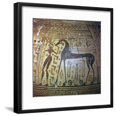 Detail from a Greek geometric period vase, 9th century BC. Artist: Unknown-Unknown-Framed Giclee Print