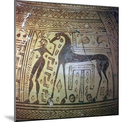 Detail from a Greek geometric period vase, 9th century BC. Artist: Unknown-Unknown-Mounted Giclee Print
