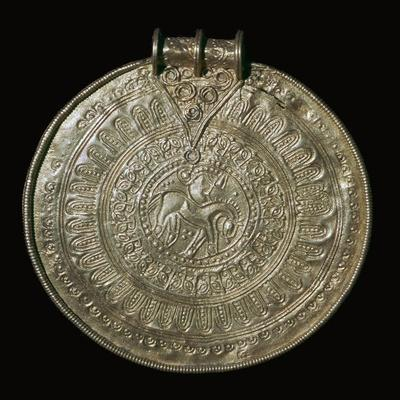 Gold bracteate from a fifth century Norwegian hoard, 6th century. Artist: Unknown-Unknown-Framed Giclee Print
