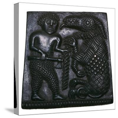 Bronze matrix for making decorative plaques for helmets, 8th century. Artist: Unknown-Unknown-Stretched Canvas Print