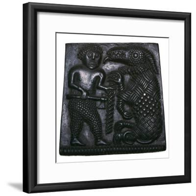 Bronze matrix for making decorative plaques for helmets, 8th century. Artist: Unknown-Unknown-Framed Giclee Print