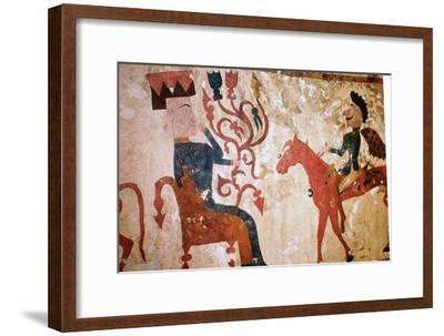 Detail of a horseman and seated man from felt Scythian wall-hanging. Artist: Unknown-Unknown-Framed Giclee Print