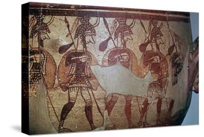 Detail of the Greek Warrior Vase, 13th century BC. Artist: Unknown-Unknown-Stretched Canvas Print