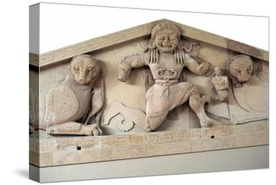 A gorgon and panthers from the pediment of the temple of Artemis on Corfu. Artist: Unknown-Unknown-Stretched Canvas Print