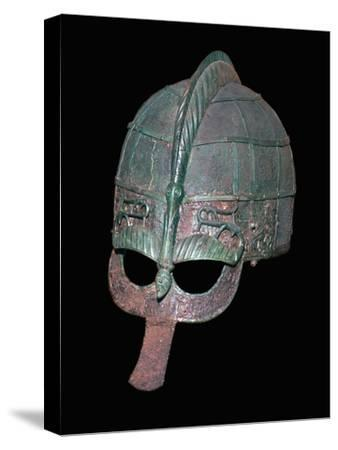Germanic Iron Age helmet, 7th century. Artist: Unknown-Unknown-Stretched Canvas Print