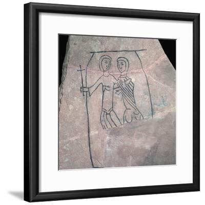 Carved stone with Christian motif. Artist: Unknown-Unknown-Framed Giclee Print