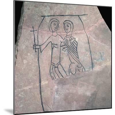 Carved stone with Christian motif. Artist: Unknown-Unknown-Mounted Giclee Print