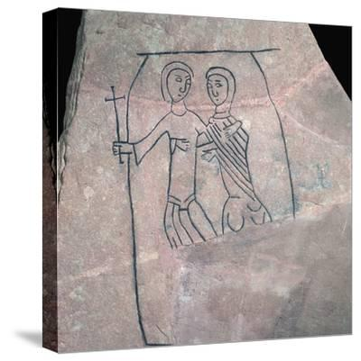 Carved stone with Christian motif. Artist: Unknown-Unknown-Stretched Canvas Print