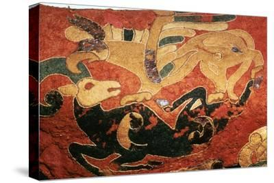 Scythian saddle-cover with applied felt decoration, 5th century BC. Artist: Unknown-Unknown-Stretched Canvas Print