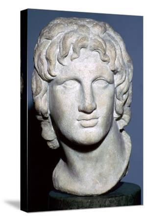 Marble portrait of Alexander the Great, Hellenistic Greek, 2nd-1st century BC. Artist: Unknown-Unknown-Stretched Canvas Print