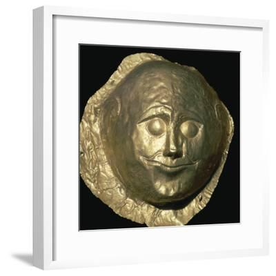 Gold death-mask of a Mycenaean King, 17th century BC. Artist: Unknown-Unknown-Framed Giclee Print