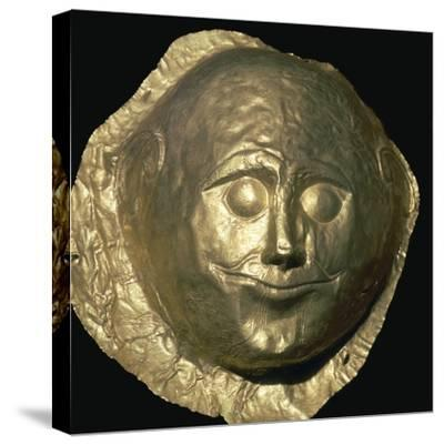 Gold death-mask of a Mycenaean King, 17th century BC. Artist: Unknown-Unknown-Stretched Canvas Print