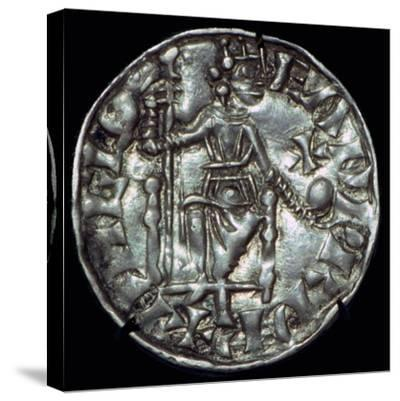 Anglo-Saxon Silver Penny of Edward the Confessor. Artist: Unknown-Unknown-Stretched Canvas Print