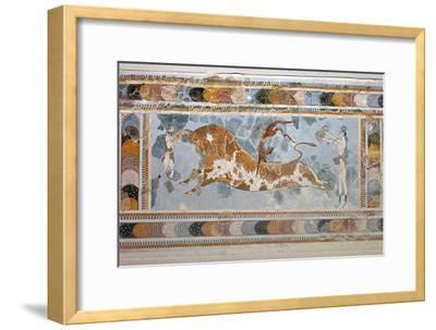 Bull-leaping' fresco from Knossos. Artist: Unknown-Unknown-Framed Giclee Print