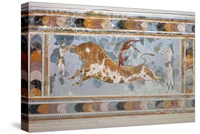 Bull-leaping' fresco from Knossos. Artist: Unknown-Unknown-Stretched Canvas Print