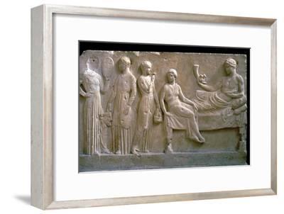 Greek votive relief of actors. Artist: Unknown-Unknown-Framed Giclee Print