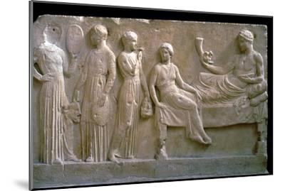Greek votive relief of actors. Artist: Unknown-Unknown-Mounted Giclee Print