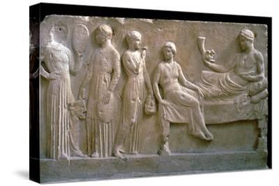 Greek votive relief of actors. Artist: Unknown-Unknown-Stretched Canvas Print