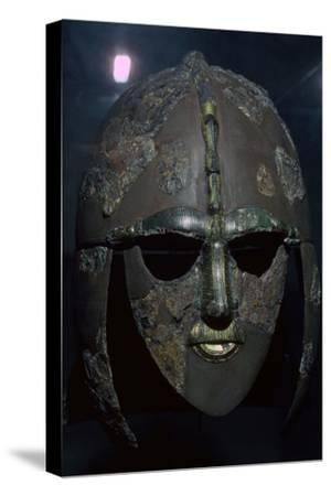 Sutton Hoo Helmet, from the ship burial, 7th century. Artist: Unknown-Unknown-Stretched Canvas Print