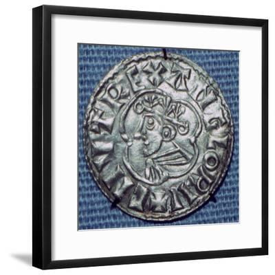 Anglo-Saxon Silver Penny of Cnut. Artist: Unknown-Unknown-Framed Giclee Print