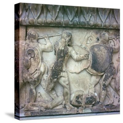 Detail of a frieze on the Treasury of the Siphnians, 6th century BC. Artist: Unknown-Unknown-Stretched Canvas Print
