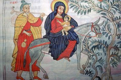 Ethiopian illustration of the Flight into Egypt, 1664. Artist: Unknown-Unknown-Framed Photographic Print