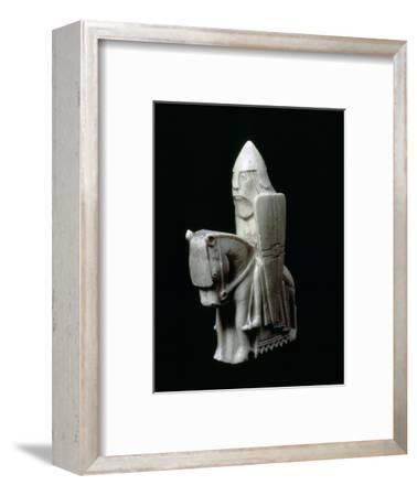 A Knight - The Lewis Chessmen, (Norwegian?), c1150-c1200. Artist: Unknown-Unknown-Framed Giclee Print