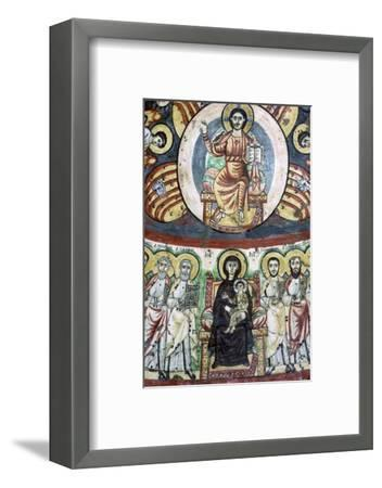 Detail of a coptic wall painting showing Christ enthroned, 6th century. Artist: Unknown-Unknown-Framed Photographic Print