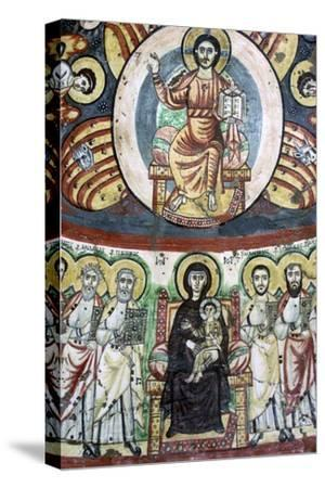Detail of a coptic wall painting showing Christ enthroned, 6th century. Artist: Unknown-Unknown-Stretched Canvas Print