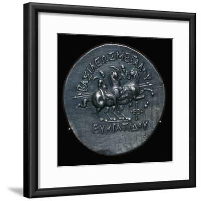 Silver coin of Eucratides I, a King of Bactria. Artist: Unknown-Unknown-Framed Giclee Print