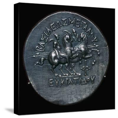 Silver coin of Eucratides I, a King of Bactria. Artist: Unknown-Unknown-Stretched Canvas Print