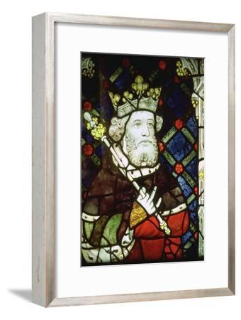 Stained thirteenth century glass image of King Cnut (985/95-1035). Artist: Unknown-Unknown-Framed Giclee Print
