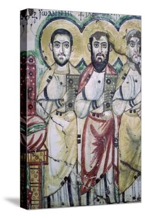 Detail of a coptic wall painting showing two apostles, 6th Century. Artist: Unknown-Unknown-Stretched Canvas Print