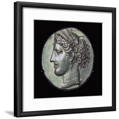 Head of Tanit on a gold tridrachm. Artist: Unknown-Unknown-Framed Giclee Print