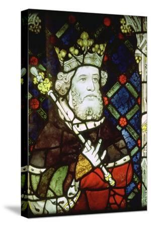 Stained thirteenth century glass image of King Cnut (985/95-1035). Artist: Unknown-Unknown-Stretched Canvas Print