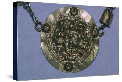 Gold Roman Gorgon's head pendant. Artist: Unknown-Unknown-Stretched Canvas Print