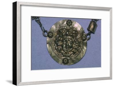 Gold Roman Gorgon's head pendant. Artist: Unknown-Unknown-Framed Giclee Print