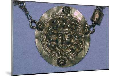 Gold Roman Gorgon's head pendant. Artist: Unknown-Unknown-Mounted Giclee Print