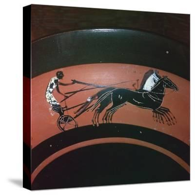 Depiction of chariot-racing on an Attic kylix, 6th century BC. Artist: Unknown-Unknown-Stretched Canvas Print