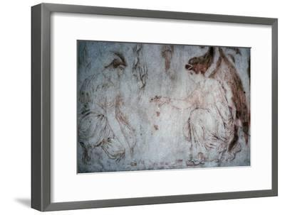Roman painting on marble of ladies playing knucklebones. Artist: Unknown-Unknown-Framed Giclee Print