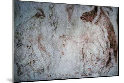 Roman painting on marble of ladies playing knucklebones. Artist: Unknown-Unknown-Mounted Giclee Print