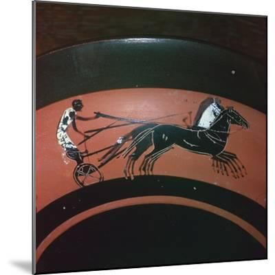 Depiction of chariot-racing on an Attic kylix, 6th century BC. Artist: Unknown-Unknown-Mounted Giclee Print