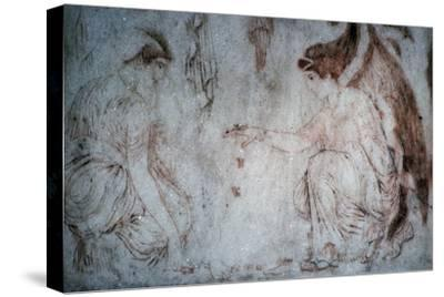 Roman painting on marble of ladies playing knucklebones. Artist: Unknown-Unknown-Stretched Canvas Print
